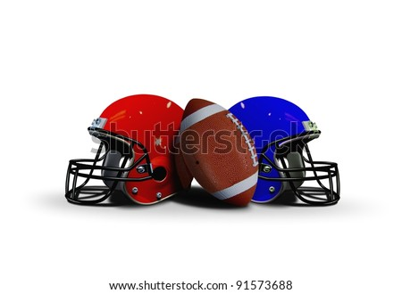 Football ball with two helmets - stock photo