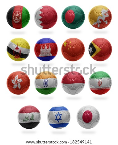 Football balls with the national flags of Asian countries from A to J on a white background - stock photo
