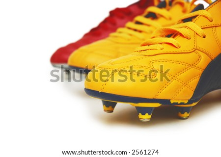 Football boots isolated on white background - stock photo