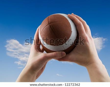 Football catch - stock photo