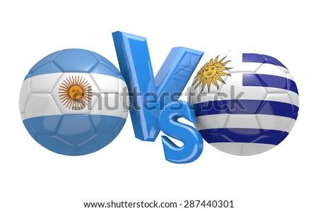 Football competition, national teams Argentina vs Uruguay - stock photo