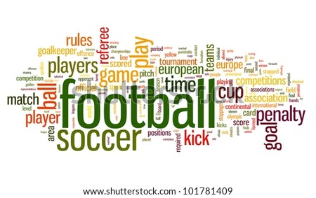 Football concept in word tag cloud on white background - stock photo