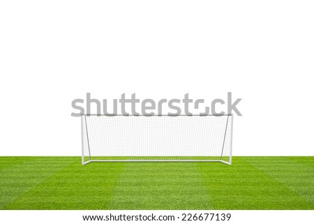 football concept showing empty football pitch and football goal posts with goal net and space for text - stock photo