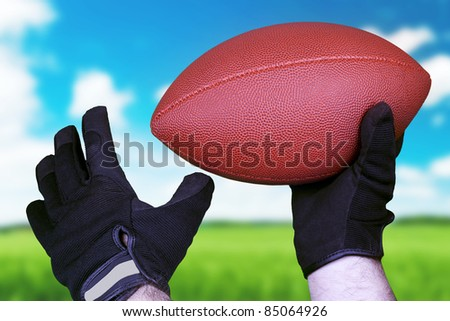 Football concept with leather ball and glove over a blue sky and green grass. - stock photo
