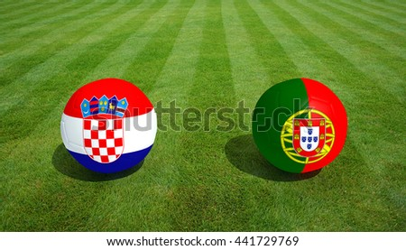 Football  Croatia / Portugal soccer game on grass soccer field 3d Rendering.