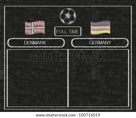 football euro 2012 scoreboard denmark and germany with nations flag written on blackboard background high resolution, easy to use - stock photo