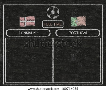football euro 2012 scoreboard denmark and portugal with nations flag written on blackboard background high resolution, easy to use - stock photo