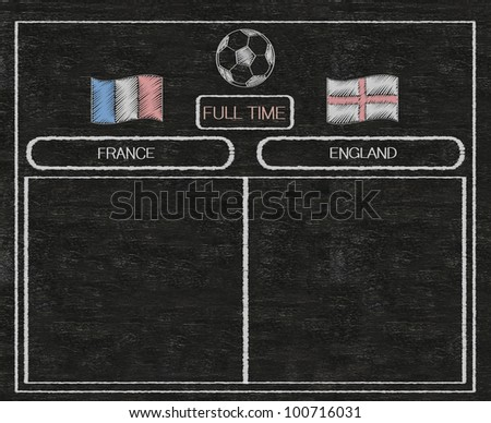 football euro 2012 scoreboard france and england with nations flag written on blackboard background high resolution, easy to use - stock photo