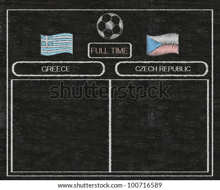 football euro 2012 scoreboard greece and russia with nations flag written on blackboard background high resolution, easy to use - stock photo