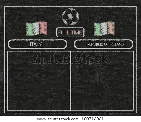 football euro 2012 scoreboard italy and ireland with nations flag written on blackboard background high resolution, easy to use - stock photo