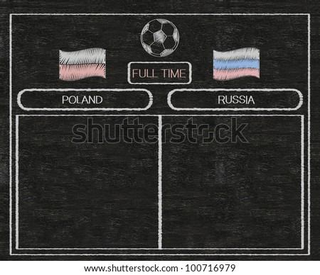 football euro 2012 scoreboard poland and russia with nations flag written on blackboard background high resolution, easy to use - stock photo