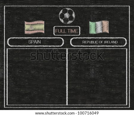football euro 2012 scoreboard spain and ireland with nations flag written on blackboard background high resolution, easy to use - stock photo