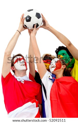 Football fans with flag painted on their faces lifting a ball - isolated over a white background - stock photo