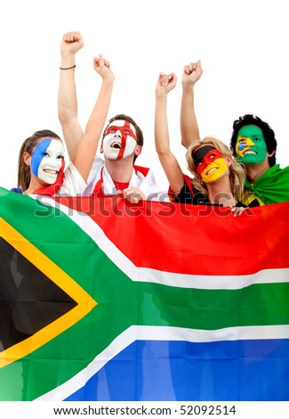 Football fans with painted faces holding the South African flag - isolated over a white background - stock photo