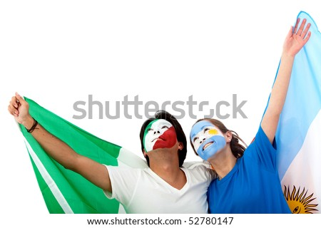 Football fans with painted faces isolated over a white background - stock photo