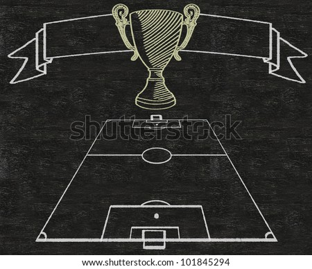 Football Field And Banner Vintage Style Written On Blackboard Background High Resolution Easy To Use