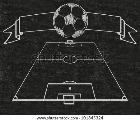 football field and banner vintage style written on blackboard background high resolution, easy to use