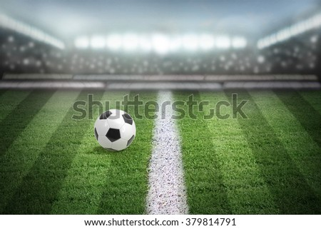Football field arena in spotlight, soccer stadium. - stock photo