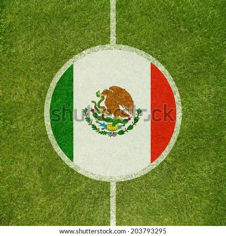 Football field center closeup with Mexican flag in circle  - stock photo