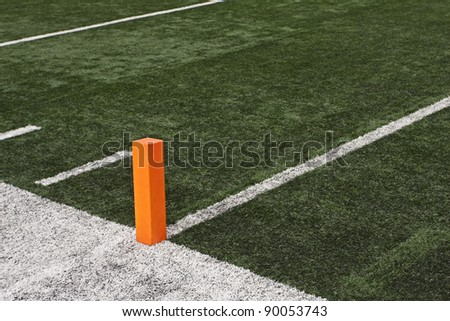 Football field close up of Touchdown pylon - stock photo