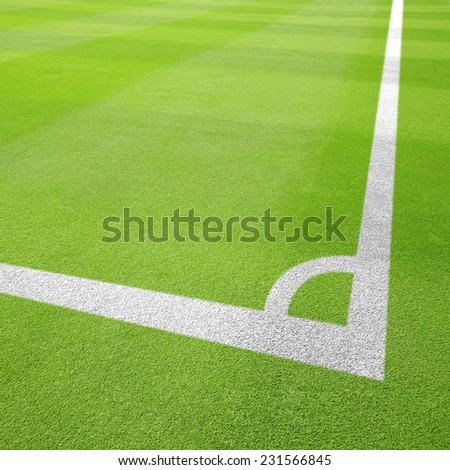 Football field corner - stock photo