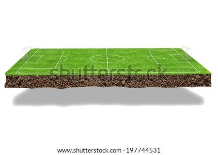 Football field 3d render - stock photo