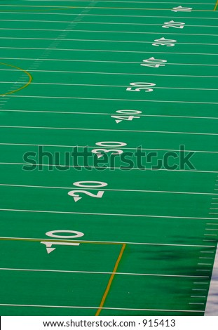 Football Field Full 100  Yards - stock photo