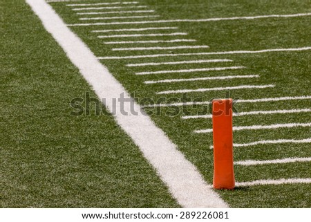 Football field, lines and signs