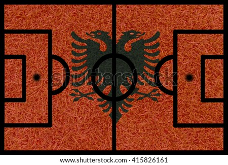 Football field textured by Albania national flags on euro 2016 - stock photo