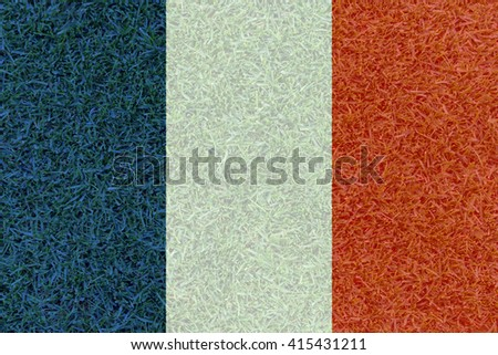 Football field textured by France national flag on euro 2016 - stock photo