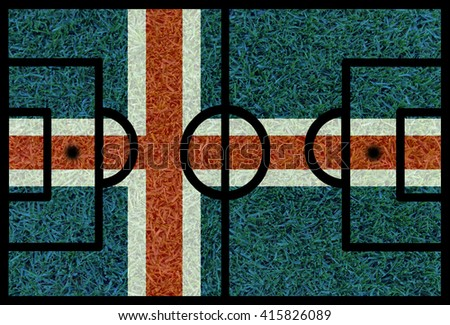 Football field textured by Iceland national flags on euro 2016 - stock photo