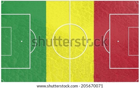 football field textured by mali national flag - stock photo