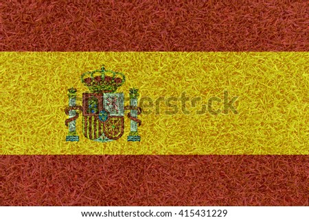 Football field textured by Spain national flag on euro 2016 - stock photo
