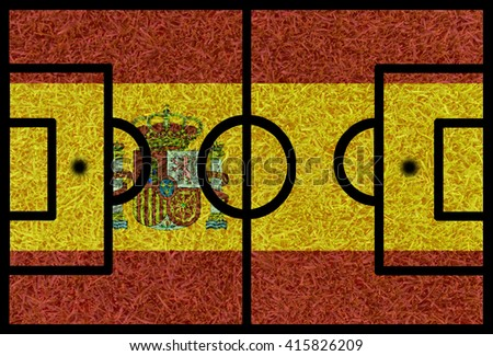 Football field textured by Spain national flags on euro 2016 - stock photo