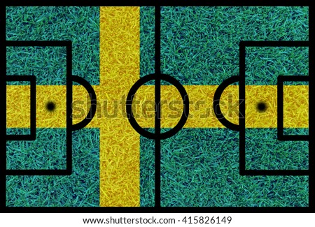 Football field textured by Sweden national flags on euro 2016 - stock photo