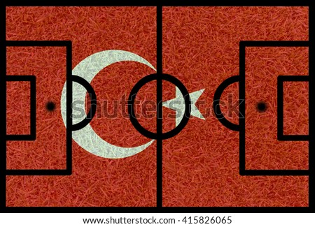 Football field textured by Turkey national flags on euro 2016 - stock photo