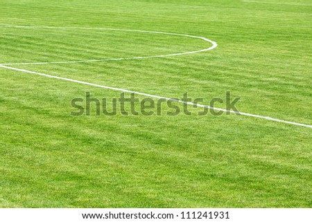 Football field with center line - stock photo