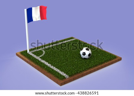 Football Field with french flag / Sports Background 3D Rendering