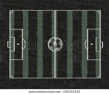 football field with grass sketch written on blackboard background high resolution - stock photo