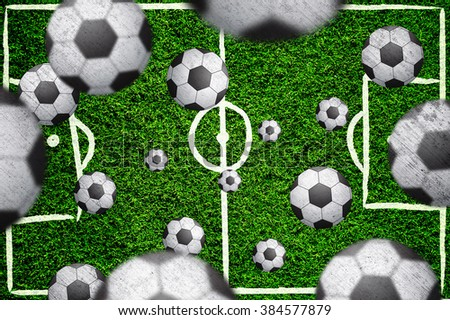 Football field with many blurred soccer balls. Blurred and grunge textured soccer balls on green football field background. - stock photo