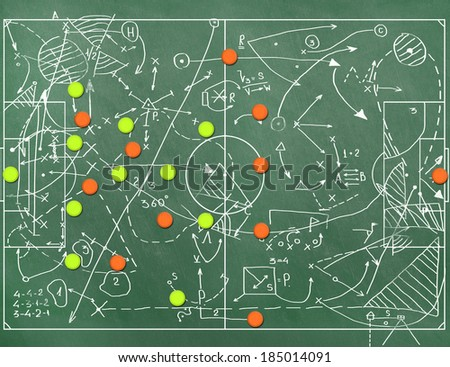 Football field with markings coaching setting for the game - stock photo