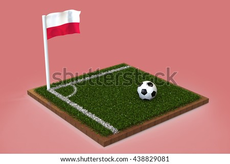 Football Field with polish flag / Sports Background 3D Rendering