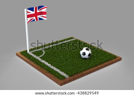 Football Field with Union Jack flag / Sports Background 3D Rendering