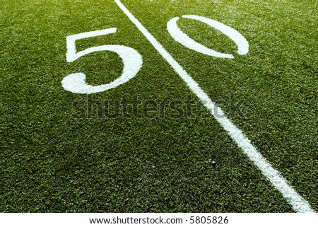 Football Field with 50-Yard Mark - stock photo