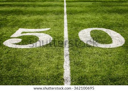 Football Field 50 Yard Line - stock photo