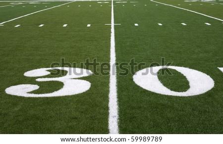 Football Field 30 Yard Line - stock photo