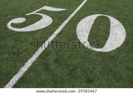 Football Fifty Yard Line - stock photo