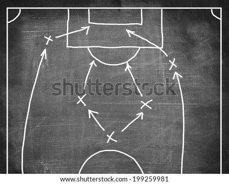 Football game strategy handwriting on chalkboard  - stock photo