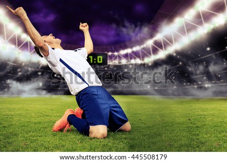 football game with a male cheering player - stock photo