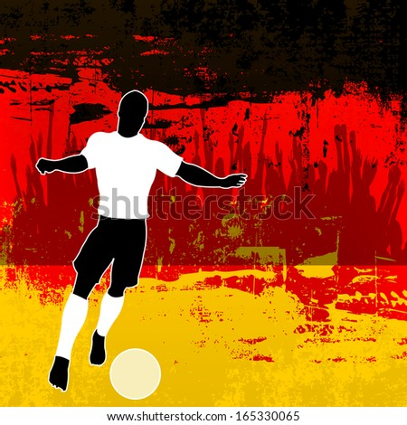 Football Germany, Soccer player over a grunged German Flag and cheering crowd - stock photo